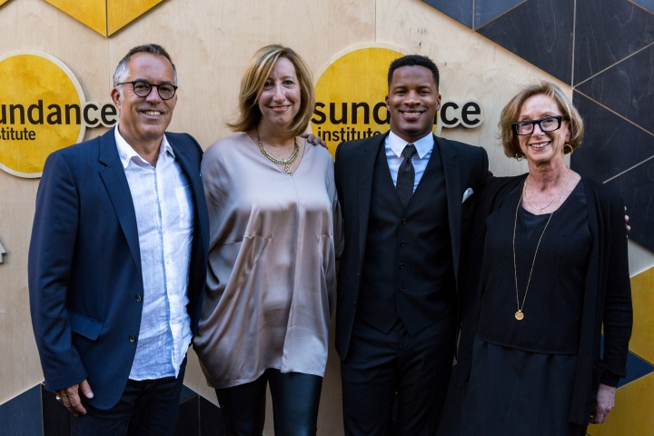 John Cooper, from left, Keri Putnam, Nate Parker, and Michelle Satter arrive at the Sundance NIGHT BEFORE NEXT Benefit at The Theatre at Ace Hotel on Thursday, Aug. 11, 2016, in Los Angeles. (Photo by Willy Sanjuan/Invision/AP)