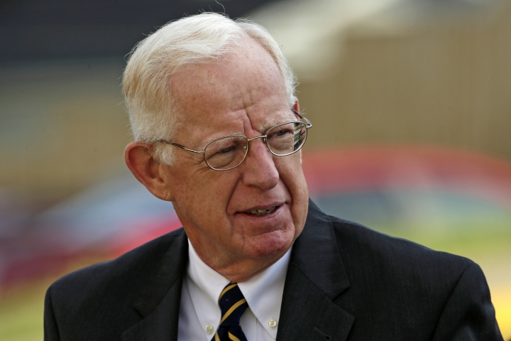 Judge John Cleland arrives at the Centre County Courthouse for an appeals hearing for former Penn State University assistant football coach Jerry Sandusky in Bellefonte, Pa. Friday, Aug. 12, 2016. Sandusky plans to take the stand and try to prove his claim he was wrongly convicted four years ago of sexually abusing 10 boys. (AP Photo/Gene J. Puskar)