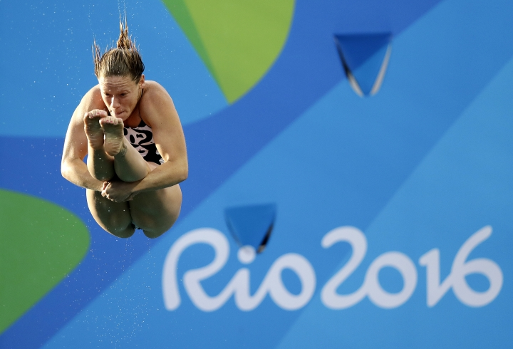 Italy's Maria Elisabetta Marconi competes during the women's 3-meter springboard diving preliminary round in the Maria Lenk Aquatic Center at the 2016 Summer Olympics in Rio de Janeiro, Brazil, Friday, Aug. 12, 2016. (AP Photo/Wong Maye-E)