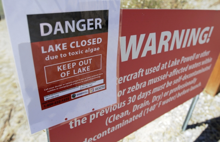 FILE - This July 20, 2016, file photo, a A danger lake closed sign is shown at Utah Lake, near American Fork, Utah. Scientists from the U.S. Geological Survey will study how nutrient levels contribute to algae bloom outbreaks on the heels of this summer's massive algae bloom that closed Utah Lake, sickened people and left farmers scrambling for clean water during some of the hottest days of the year. (AP Photo/Rick Bowmer, File)