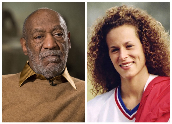 FILE - In this combination of file photos, entertainer Bill Cosby pauses during an interview in Washington on Nov. 6, 2014, and Andrea Constand poses for a photo in Toronto on Aug. 1, 1987. On Monday, Aug. 15, 2016, the 3rd U.S. Circuit Court of Appeals in Philadelphia rejected Bill Cosby's effort to reseal his deposition testimony about extramarital affairs, prescription sedatives and payments to women, ruling the request was moot because contents of the documents are now public knowledge. Cosby gave the testimony in 2005 as part of a lawsuit brought against him by Andrea Constand, a Temple University employee who said he drugged and molested her at his home. (AP Photo/Evan Vucci, left, and Ron Bull/Toronto Star/The Canadian Press via AP, right) MANDATORY CREDIT; TORONTO OUT; NO SALES; NO MAGAZINES