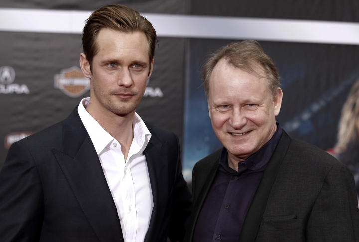 "FILE- In this April 11, 2012, file photo, Stellan Skarsgard, right, arrives at the premiere of ""The Avengers"" with his son Alexander Skarsgard in Los Angeles. Stellan Skarsgard said Monday, Aug. 8, 2016, that he feels his sons are talented actors, but it's more important to him that they're ""nice people."" (AP Photo/Matt Sayles, File)"