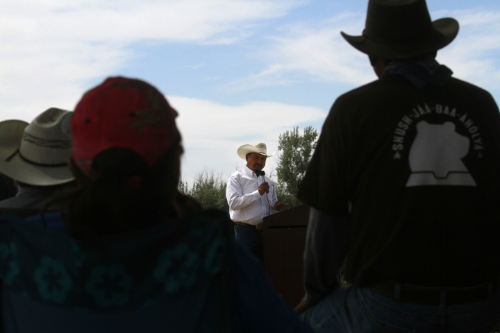 Navajo Nation Council Delegate Tom Chee speaks Tuesday, Aug. 16, 2016, at Nizhoni Park in Shiprock, N.M. Leaders of the Navajo Nation, one of the nation's largest American Indian tribes, blasted the U.S. Environmental Protection Agency as their attorneys sued Tuesday, claiming negligence in the cleanup of a massive mine waste spill that tainted rivers in three Western states. (Jon Austria/The Daily Times via AP)