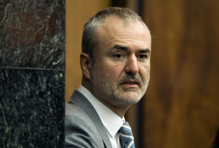 FILE - In this Wednesday, March 16, 2016, file photo, Gawker Media founder Nick Denton arrives in a courtroom in St. Petersburg, Fla. Spanish-language broadcaster Univision has bought Gawker Media in an auction for $135 million. That's according to a person familiar with the matter who asked not to be identified because the deal had not been formally announced. (AP Photo/Steve Nesius, Pool, File)