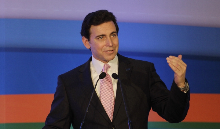 FILE - In this Thursday, March 26, 2015, file photo, Ford President and CEO Mark Fields speaks during the inauguration of Ford's manufacturing facility and engine plant at Sanand, near Ahmadabad, India. Fields said Tuesday, Aug. 16, 2016, that Ford Motor Co. will have a fully autonomous vehicle ready to provide ride-hailing or ride-sharing services by 2021. (AP Photo/Ajit Solanki, File)