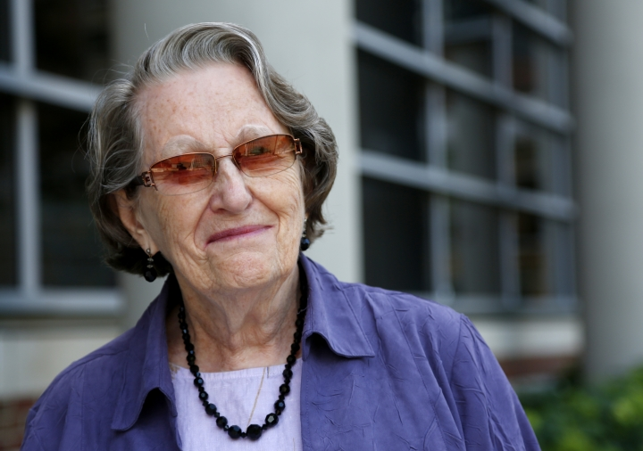 In this Aug. 11, 2016 photo, Jean Larson, widow of a donor to the Anatomy Bequest Program at the University of Minnesota Medical School, poses for a photo in Minneapolis. Once a relatively rare option, body donation has surged at medical schools, including the University of Minnesota. The increase has helped provide cadavers for dissection by first-year medical students, and for research and surgical training. (AP Photo/Andy Clayton-King)
