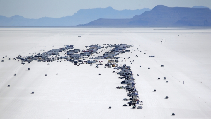 This Saturday, Aug. 13, 2016, photo, shows the pitt area at the Bonneville Salt Flats, near Wendover, Utah. Speed-starved racers are finally back at Utah's world-famous Bonneville Salt Flats to hit speeds of 400 mph or more as they compete in Speed Week for the first time since 2013 after wet weather and rough salt cancelled the races for the last two years. (AP Photo/Rick Bowmer)