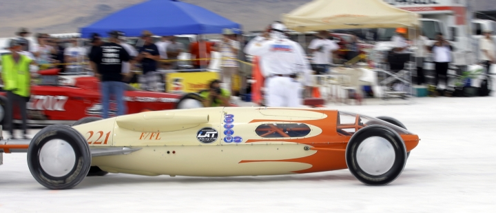 This Monday, Aug. 15, 2016, photo, Steve Nelson, of Petaluna, Ca, drives his vehicle from the starting line at the Bonneville Salt Flats, near Wendover, Utah. Speed-starved racers are finally back at Utah's world-famous Bonneville Salt Flats to hit speeds of 400 mph or more as they compete in Speed Week for the first time since 2013 after wet weather and rough salt cancelled the races for the last two years. (AP Photo/Rick Bowmer)