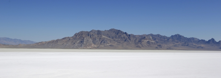This Saturday, Aug. 13, 2016, shows the Bonneville Salt Flats, near Wendover, Utah. Speed-starved racers are finally back at Utah's world-famous Bonneville Salt Flats to hit speeds of 400 mph or more as they compete in Speed Week for the first time since 2013 after wet weather and rough salt cancelled the races for the last two years. (AP Photo/Rick Bowmer)