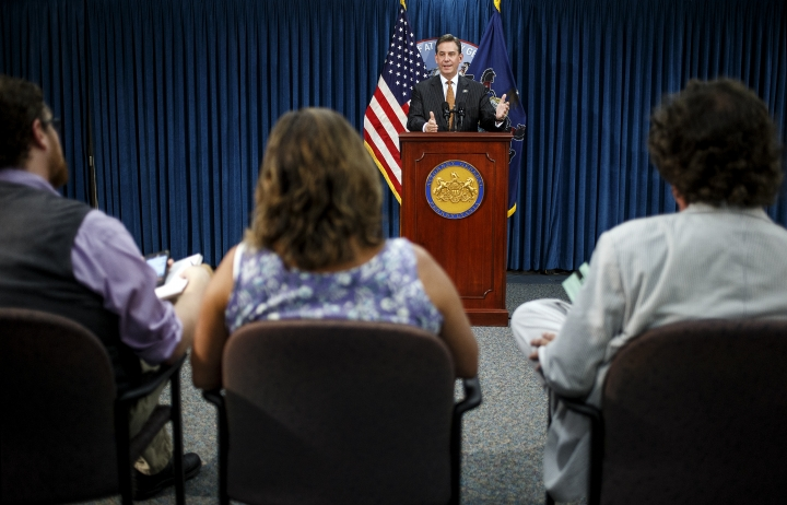 First Deputy Attorney General Bruce L. Castor Jr. speaks during a news conference in Harrisburg, Pa., Tuesday, Aug. 16, 2016. Kathleen Kane, Pennsylvania's first elected female attorney general, announced her resignation Tuesday, a day after being convicted of abusing the powers of the state's top law enforcement office to smear a rival and lying under oath to cover it up. (Dan Gleiter/PennLive.com via AP)