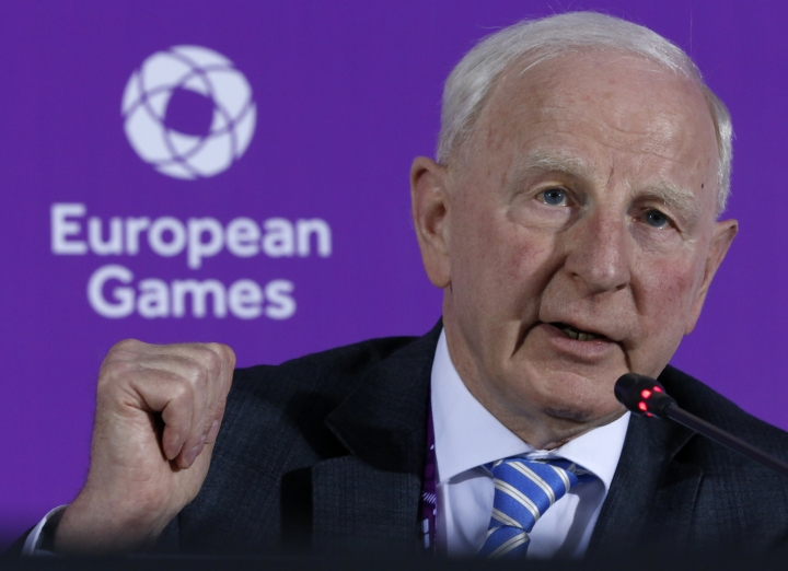 FILE - In this June 11, 2015 file photo, Patrick Hickey, the head of the European Olympic Committee speaks during a news conference on the eve of the opening of the 2015 European Games in Baku, Azerbaijan. Rio de Janeiro authorities have issued an arrest warrant for Hickey accused of scalping tickets for the Summer Games. (AP Photo/Dmitry Lovetsky, File)