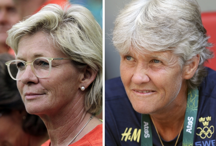 FILE - This combo of two 2016 file photos shows, at left, Germany's women's soccer coach Silvia Neid at an Aug. 12 Olympic quarter-final against China in Salvador, Brazil, and at right: Sweden's soccer coach Pia Sundhage at an Aug. 12 Olympic quarter-final against the U.S. in Brasilia, Brazil. Back when the first women's Olympic soccer tournament was held in 1996 at the Atlanta Games, they were players: Neid played for Germany and Sundhage for Sweden. Close pals bound together by long careers in soccer, they'll put aside the friendship on the field on Friday, Aug 19 as their teams face off in the gold-medal match at the Summer Olympics in Rio de Janeiro. (AP Photo/Eraldo Peres, Arisson Marinho, Files)