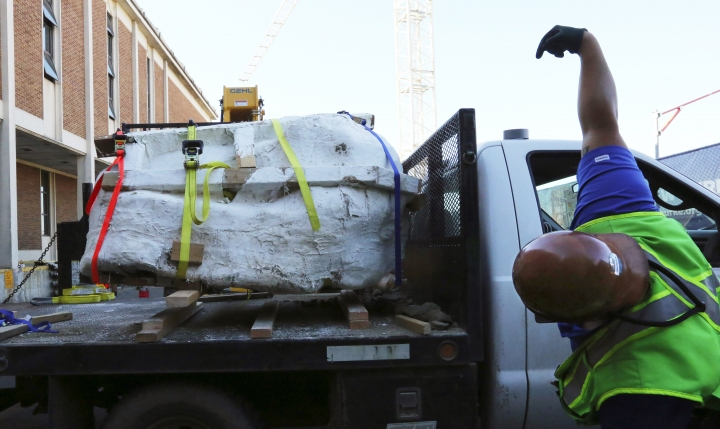Encased in plaster, the 4-foot-long, 2,500-pound remains of a Tyrannosaurus rex skull, is moved by fork lift to the loading dock of the Burke Museum on Thursday, Aug. 18, 2016 in Seattle. Paleontologists with Seattle's Burke Museum have unearthed the bones of a Tyrannosaurus rex that lived more than 66 million years ago, including a rare nearly complete 4-foot long skull. The remarkable discovery includes the carnivorous dinosaur's vertebrae, ribs, hips and lower jaw bones, and represents about 20 percent of the animal. (Alan Berner/The Seattle Times via AP)