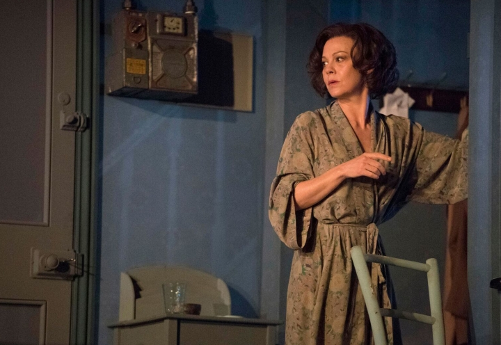 "In this image made available by the National Theatre on Friday Aug. 19, 2016, actress Helen McCrory during rehearsal for the production of ""The Deep Blue Sea"". You might not think there's much overlap between Amy Winehouse and the work of playwright Terence Rattigan, chronicler of upper-crust British stiff upper lips. But the late diva was one of the influences Helen McCrory mines for her searing performance in Rattigan's play ""The Deep Blue Sea"" (Richard Hubert Smith/National Theatre via AP)"