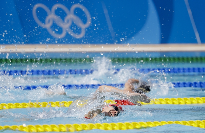 Kate French of Britain competes at the swimming portion of the women's modern pentathlon at the Summer Olympics in Rio de Janeiro, Brazil, Friday, Aug. 19, 2016.(AP Photo/Natacha Pisarenko)
