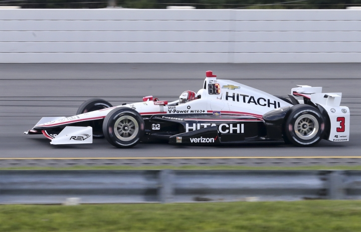 Takuma Sato, of Japan, (14) drives during qualifying for Sunday's Pocono IndyCar 500 auto race Saturday, Aug. 20, 2016, in Long Pond, Pa. (AP Photo/Mel Evans)