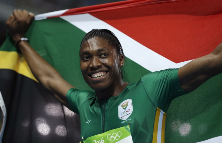 South Africa's Caster Semenya smiles after winning the gold medal in the women's 800-meter final during the athletics competitions of the 2016 Summer Olympics at the Olympic stadium in Rio de Janeiro, Brazil, Saturday, Aug. 20, 2016. (AP Photo/Matt Slocum)