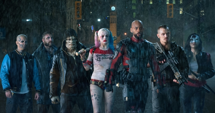 "This file image released by Warner Bros. pictures, from left, Jay Hernandez as Diablo, Jai Courtney as Boomerang, Adewale Akinnuoye-Agbaje as Killer Croc, Margot Robbie as Harley Quinn, Will Smith as Deadshot, Joel Kinnaman as Rick Flag and Karen Fukuhara as Katana in a scene from ""Suicide Squad."" According to studio estimates Sunday, Aug. 21, 2016, Warner Bros.'s much-maligned ""Suicide Squad"" held the top stop for the third straight week with an estimated $20.7 million over its third weekend. (Clay Enos/Warner Bros. Pictures via AP, File)"