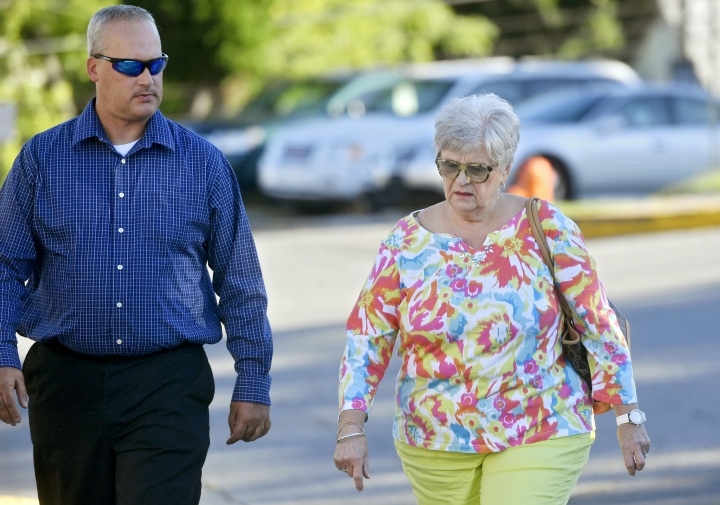 Dottie Sandusky, right, wife of Jerry Sandusky, arrives at the Centre County Courthouse, Monday, Aug. 22, 2016, in Bellefonte, Pa. The second day of Jerry Sandusky's appeal hearing is getting underway on Monday. The former Penn State assistant football coach insists he's innocent and is seeking to have his 45-count conviction thrown out or to get a new trial. (Abby Drey/Centre Daily Times via AP)