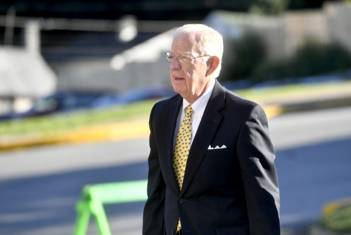 John Cleland, the judge of the Jerry Sandusky court case, arrives at the Centre County Courthouse, Monday, Aug. 22, 2016, in Bellefonte, Pa. The second day of Sandusky's appeal hearing is getting underway on Monday. The former Penn State assistant football coach insists he's innocent and is seeking to have his 45-count conviction thrown out or to get a new trial. (Abby Drey/Centre Daily Times via AP)