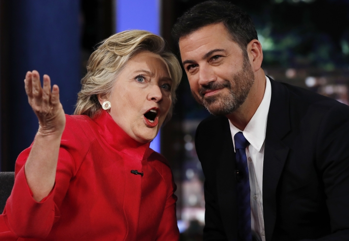 "Democratic presidential nominee Hillary Clinton talks with Jimmy Kimmel during a break in the taping of ""Jimmy Kimmel Live!"" in Los Angeles, Monday, Aug. 22, 2016. (AP Photo/Carolyn Kaster)"