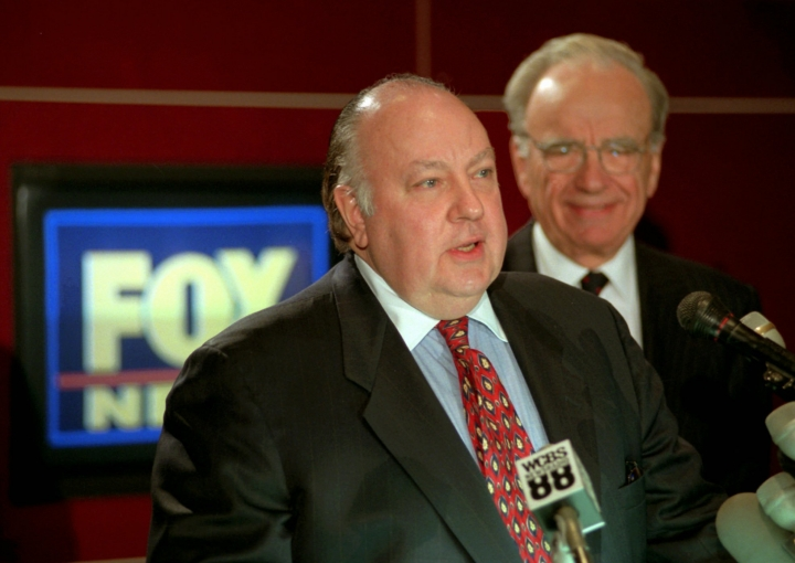 FILE - In this Jan. 30, 1996 file photo, Roger Ailes, left, speaks at a news conference as Rupert Murdoch looks on after it was announced that Ailes will be chairman and CEO of Fox News. Former Fox News host Andrea Tantaros has charged in a lawsuit filed Monday, Aug. 22, 2016, she was sexually harassed by former network chief Roger Ailes and other top executives. The defendants in the lawsuit filed Monday in Manhattan state Supreme Court include William Shine, who was named co-president of Fox News after Ailes resigned because of a sexual harassment lawsuit filed by another former anchor, Gretchen Carlson. (AP Photo/Richard Drew, File)