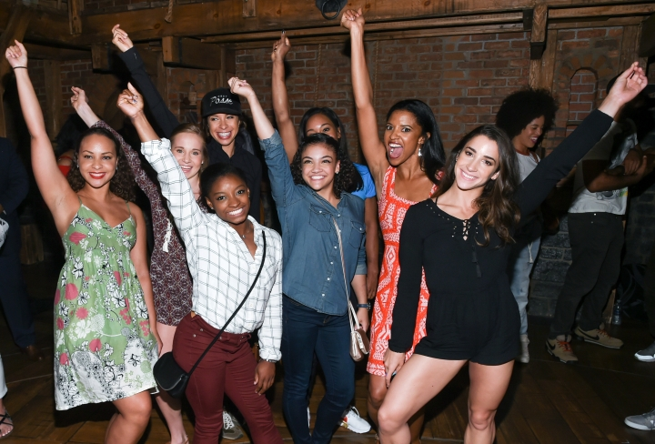 "Members of the ""Final Five"" 2016 Rio Olympics gold medal winning U.S. Gymnastics team, Madison Kocian, Simone Biles, Gabby Douglas, Laurie Hernandez, and Aly Raisman pose with ""Hamilton"" actors who play the Schuyler sisters, Jasmine Cephas Jones, Lexi Lawson and Renee Elise Goldsberry backstage after attending the performance at the Richard Rogers Theatre on Tuesday, Aug. 23, 2016, in New York. (Photo by Evan Agostini/Invision/AP)"