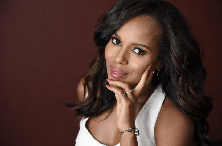 "In this Aug. 24, 2016 photo, actress Kerry Washington poses for a portrait at The Hollywood Roosevelt Hotel in Los Angeles. While busy promoting the Purple Purse anti-abuse fundraiser, prepping for the arrival of a second child and shooting season six of ""Scandal,"" Washington also is in the midst of Emmy season, with nominations including one for producing the HBO movie ""Confirmation."" (Photo by Chris Pizzello/Invision/AP)"