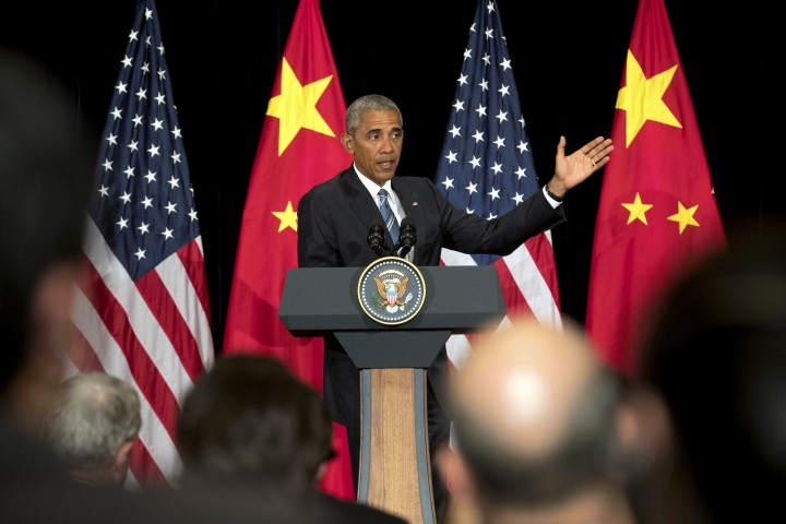U.S. President Barack Obama speaks at a press conference after the conclusion of the G-20 Summit in Hangzhou in eastern China's Zhejiang Province, Monday, Sept. 5, 2016. (AP Photo/Mark Schiefelbein)