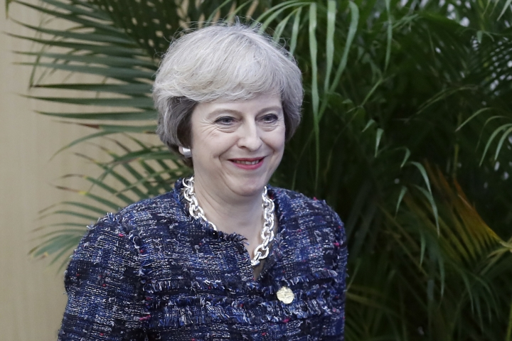 British Prime Minister Theresa May arrives for a press conference held at the end of the G-20 summit in Hangzhou, in eastern China's Zhejiang province, Monday, Sept. 5, 2016. (AP Photo/Ng Han Guan)