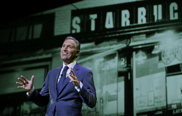 "FILE - In this Wednesday, March 23, 2016, file photo, Starbucks CEO Howard Schultz speaks at the coffee company's annual shareholders meeting in Seattle. Starbucks is venturing into the world of ""content creation"" with stories about inspiring Americans it says will help balance the ""cynicism"" fueling media coverage of the presidential election. The coffee chain, which is known for chiming in on social issues, says it's positioned to give its Upstanders series a big stage through its popular mobile app. (AP Photo/Ted S. Warren, File)"