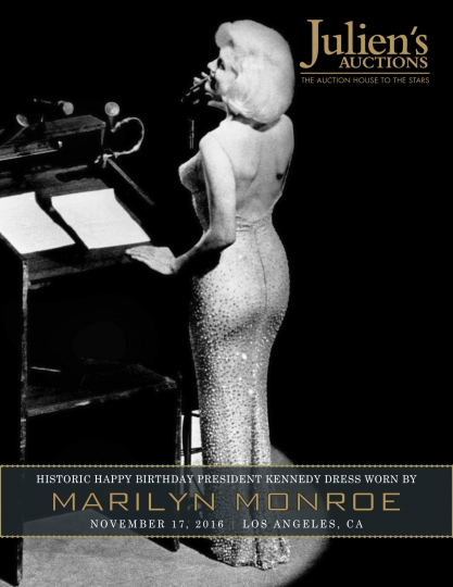 "This undated photo provided by Julien's Auctions shows Marilyn Monroe singing her breathless ""Happy Birthday"" to President John F. Kennedy. The barely-there flesh-colored dress she wore is going on the auction block in the fall. Julien's Auctions is offering the sequined stunner in Los Angeles on Nov. 17, 2016. It conservatively estimates it could fetch between $2 million to $3 million. The dress was last auctioned in 1999 for $1.26 million. (Julien's Auctions via AP)"