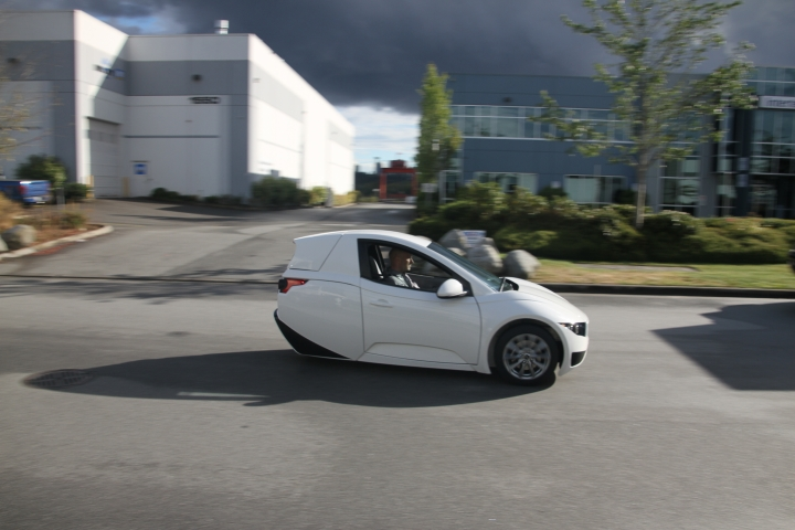 This undated photo provided by Electra Meccanica Vehicles Corp. shows the Solo, a one-seater made by the Vancouver, Canada-based company. The three-wheeled electric car could soon go on sale in the U.S. and Canada. (Electra Meccanica Vehicles Corp. via AP)