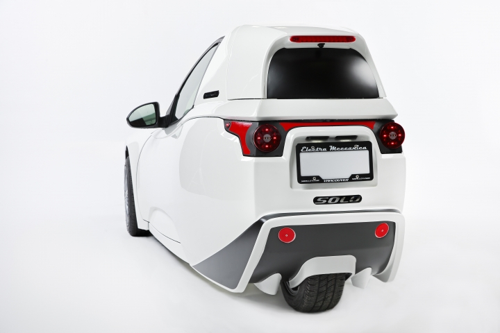 This Wednesday, Sept. 7, 2016, photo provided by Electra Meccanica Vehicles Corp. shows the 2017 Electra Meccanica Solo, in Vancouver, British Columbia, Canada. The three-wheeled, electric one-seater could soon go on sale in the U.S. and Canada. (Jeff Vinnick/Electra Meccanica Vehicles Corp. via AP)