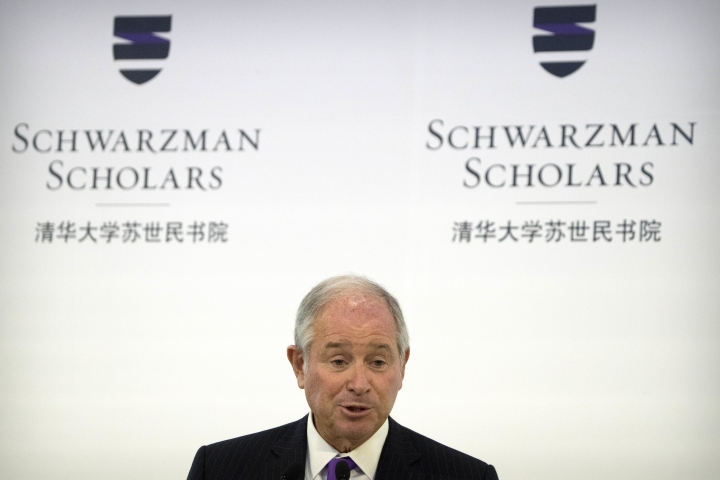Stephen Schwarzman, founder and CEO of the Blackstone Group, speaks during a ceremony to officially open the Schwarzman Scholars program at Tsinghua University in Beijing, Saturday, Sept. 10, 2016. A new scholarship program intended to rival the prestigious Rhodes Scholarships and build understanding between China and the world opened its doors at Beijing's prestigious Tsinghua University on Saturday. (AP Photo/Mark Schiefelbein)
