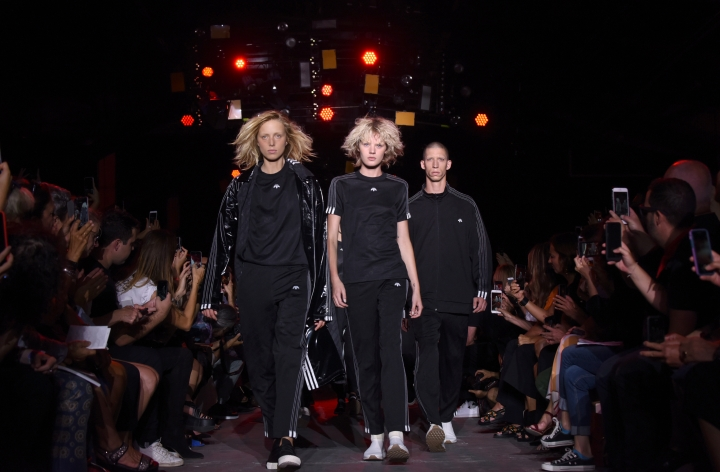 """The """"Adidas Originals by Alexander Wang"""" collection is modeled during Fashion Week in New York, Saturday, Sept. 10, 2016. (AP Photo/Diane Bondareff)"""