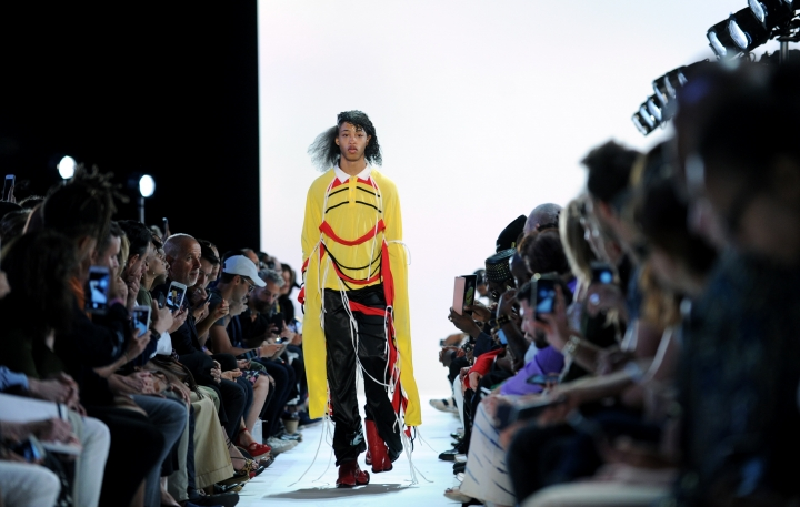 The Hood by Air Spring 2017 collection is modeled during Fashion Week in New York, Sunday, Sept. 11, 2016. (AP Photo/Diane Bondareff)