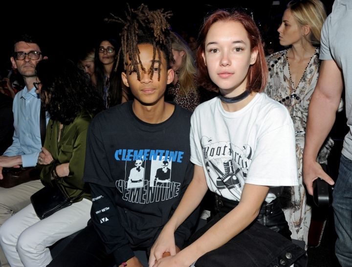 Jaden Smith, left, and Sarah Snyder attend the Hood by Air Spring 2017 runway show during Fashion Week in New York, Sunday, Sept. 11, 2016. (AP Photo/Diane Bondareff)