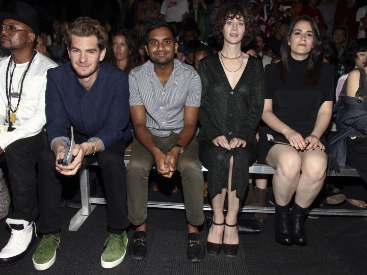 Andrew Garfield, from left, Aziz Ansari, Miranda July, and Abbi Jacobson attend the Opening Ceremony fashion show during NYFW Spring/Summer 2017 at the Javits Center on Sunday, Sept. 11, 2016, in New York. (Photo by Andy Kropa/Invision/AP)