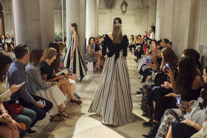 CORRECTS VENUE NAME TO THE FRICK COLLECTION - The Carolina Herrera Spring 2017 collection is modeled during Fashion Week at The Frick Collection in New York, Monday, Sept. 12, 2016. (AP Photo/Andres Kudacki)