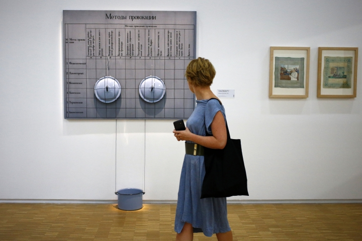 "In this photo dated Monday, Sept. 12, 2016 a visitor passes by ""Methodes de Provocation, 1990"" by Pertsy (Oleg Petrenko 1964, Ludmilla Skripkina 1965) during the presentation of the Kollektsia exhibition dedicated to Russian contemporary art at Beaubourg Museum in Paris, France. One of the richest oligarchs in Russia, Vladimir Potanin, is donating over 250 works of Russian and Soviet art to France national modern art museum, the Pompidou Center, to promote cultural understanding. The exhibition runs through Sept. 14, 2016 to March 27, 2017. (AP Photo/Francois Mori)"