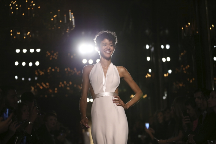 The Brandon Maxwell Spring 2017 collection is modeled during Fashion Week at the Russian Tea Room in New York, Tuesday, Sept. 13, 2016. (AP Photo/Seth Wenig)
