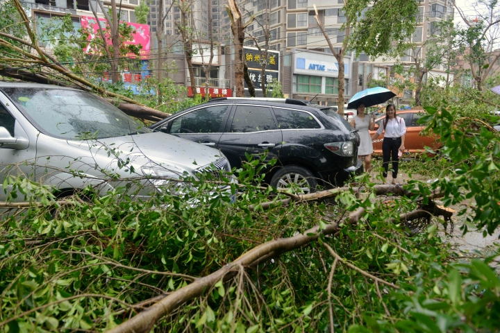 People walk amid downed tree limbs after a typhoon in Xiamen in southeastern China's Fujian province Thursday, Sept. 15, 2016. Typhoon Meranti, labeled the strongest storm so far this year by Chinese and Taiwanese weather authorities, made landfall in southeastern China early Thursday after previously affecting Taiwan. (Chinatopix via AP)