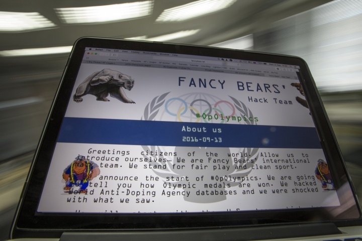 "A screenshot of the Fancy Bears website fancybear.net seen on a computes screen in Moscow, Russia, Wednesday, Sept. 14, 2016. Confidential medical data of gold medal-winning gymnast Simone Biles, seven-time Grand Slam champion Venus Williams and other female U.S. Olympians was hacked from a World Anti-Doping Agency database and posted online Tuesday Sept 13, 2016. WADA said the hackers were a ""Russian cyber espionage group"" called Fancy Bears. (AP Photo/Alexander Zemlianichenko)"