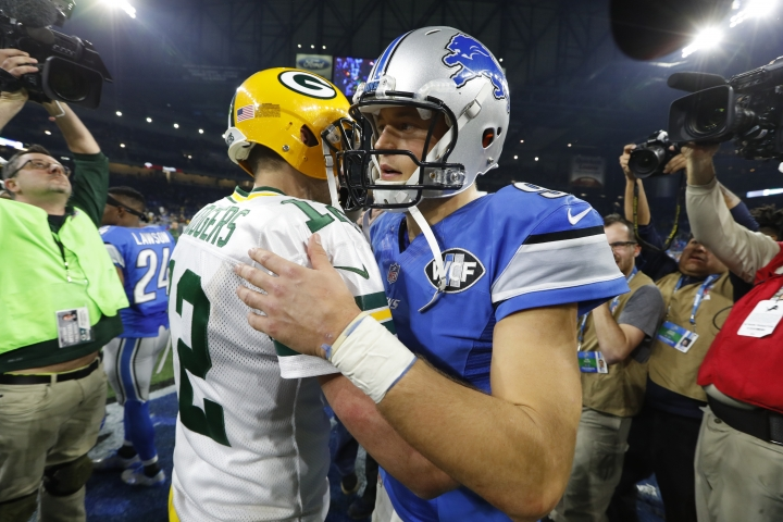 Green Bay Packers quarterback Aaron Rodgers (12) and Detroit Lions quarterback Matthew Stafford embrace after an NFL football game, Sunday, Jan. 1, 2017, in Detroit. The Packers won 31-24. (AP Photo/Paul Sancya)