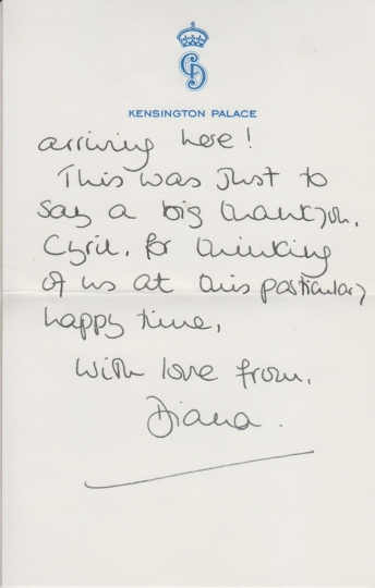 This undated photo issued on Thursday Jan. 5, 2017 by Cheffins Fine Art shows a letter written by Princess Diana from the estate of the late Cyril Dickman, former Palace Steward at Buckingham Palace, which will be auctioned at Cheffins Connoisseur's Sale on 5th January in Cambridge. Six handwritten notes sent to Cyril Dickman in the 1980s and 1990s are going on auction. (Cheffins Fine Art via AP)