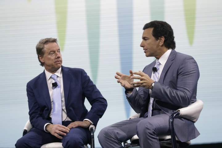 Ford Motor Co. Executive Chairman Bill Ford, left, listens as President and Chief Executive Mark Fields speaks at the North American International Auto show, Monday, Jan. 9, 2017, in Detroit. (AP Photo/Carlos Osorio)