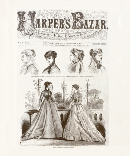 This image provided by Harper's Bazaar shows the first cover of the magazine dated Nov. 2, 1867. Madonna is one of 150 women chosen by editors of the Hearst magazine's 32 editions worldwide as the most fashionable women around the globe. The magazine's first-ever such list comes in celebration of its 150th anniversary, Editor-in-Chief Glenda Bailey said Monday, Jan. 9, 2017. (Harper's Bazaar via AP)