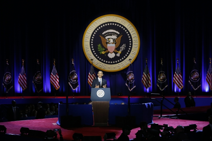 President Barack Obama speaks at McCormick Place in Chicago, Tuesday, Jan. 10, 2017, giving his presidential farewell address. (AP Photo/Charles Rex Arbogast)