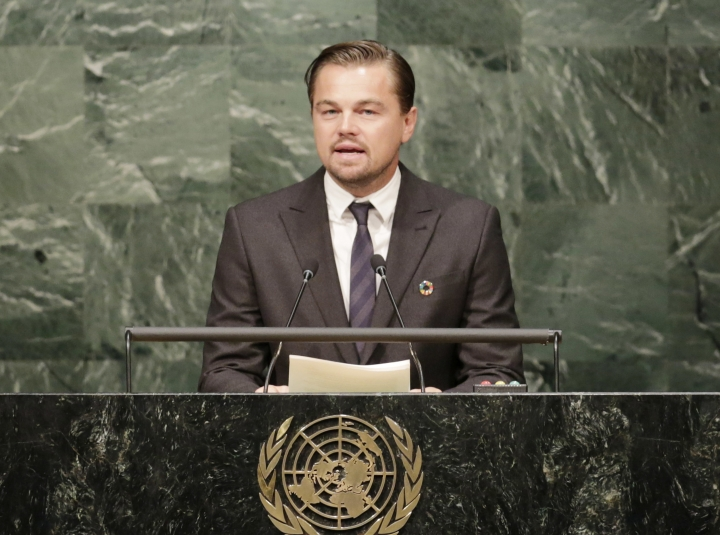 FILE - In this April 22, 2016, file photo, actor Leonardo Di Caprio, a United Nations Messenger of Peace, speaks at the signing ceremony for the Paris Agreement on climate change at U.N. headquarters. DiCaprio's foundation is chipping in to support a new national monument in southern Utah that's been a flashpoint over public land use in the West. His environmental group is one of several donating to create the $1.5 million Bears Ears Community Engagement Fund, which is aimed at supporting local efforts to preserve natural resources and protect the park's trove of ancient archaeological sites from things like looting. (AP Photo/Mark Lennihan, File)